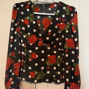 Zara poka dot blouse